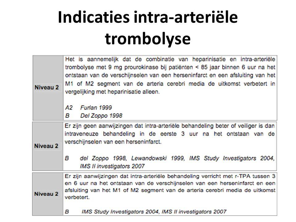 Indicaties intra-arteriële trombolyse