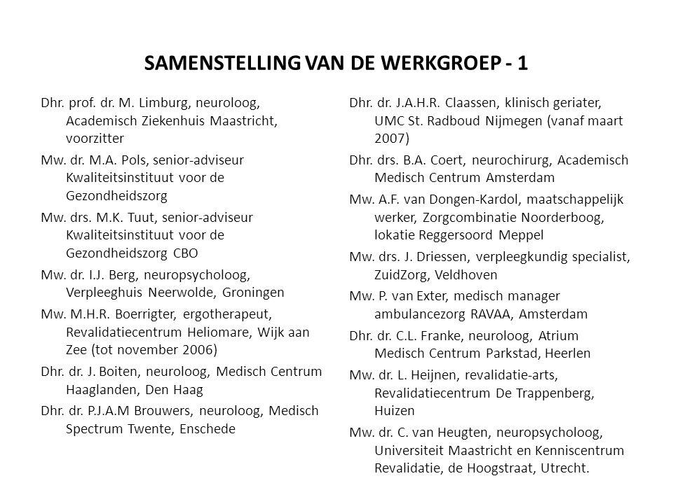 SAMENSTELLING VAN DE WERKGROEP - 1