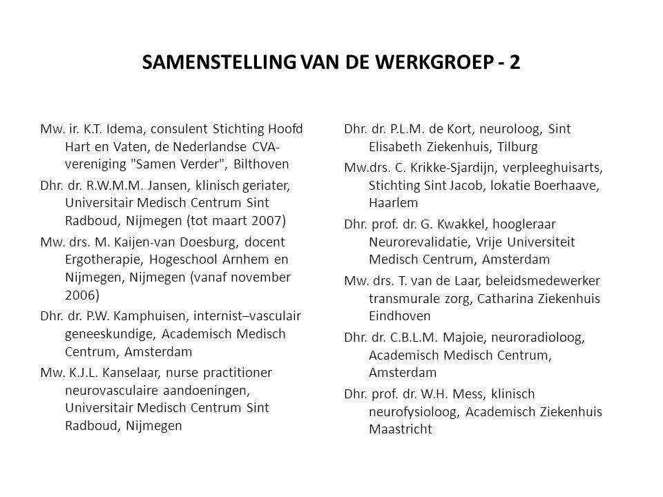 SAMENSTELLING VAN DE WERKGROEP - 2