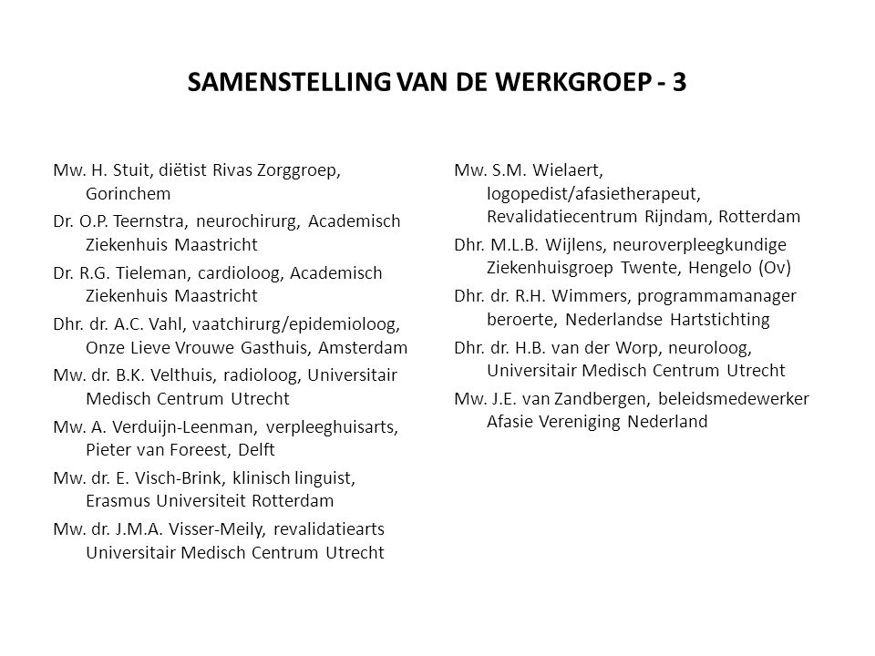 SAMENSTELLING VAN DE WERKGROEP - 3