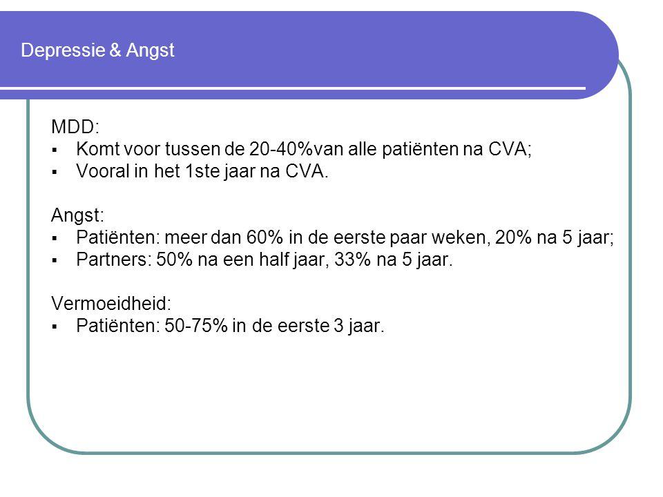 Depressie & Angst MDD: Komt voor tussen de 20-40%van alle patiënten na CVA; Vooral in het 1ste jaar na CVA.