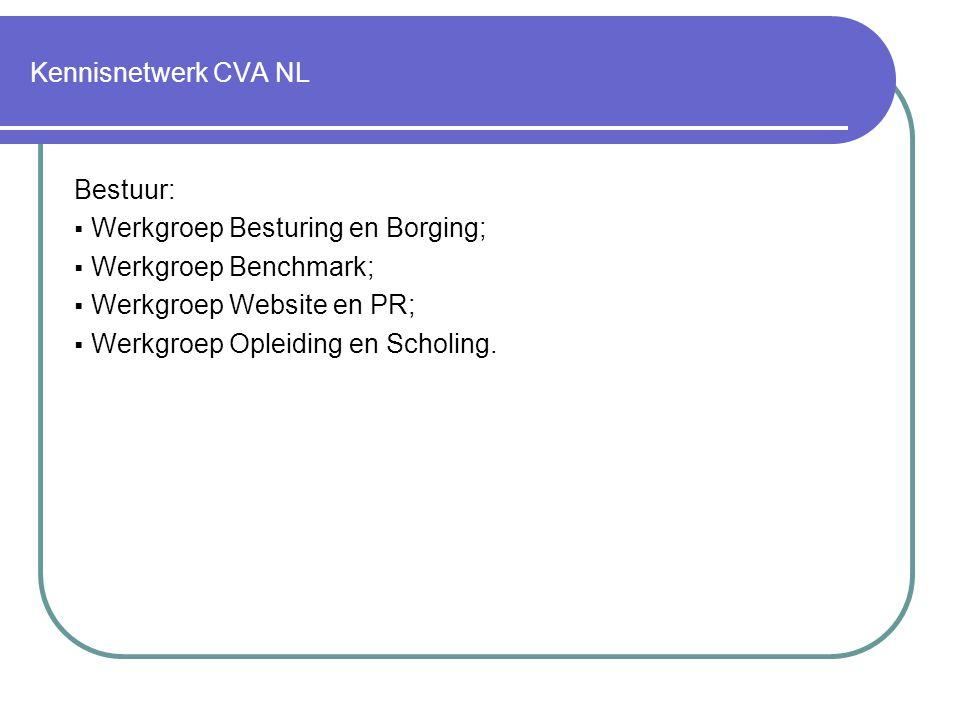 Kennisnetwerk CVA NL Bestuur: Werkgroep Besturing en Borging; Werkgroep Benchmark; Werkgroep Website en PR;