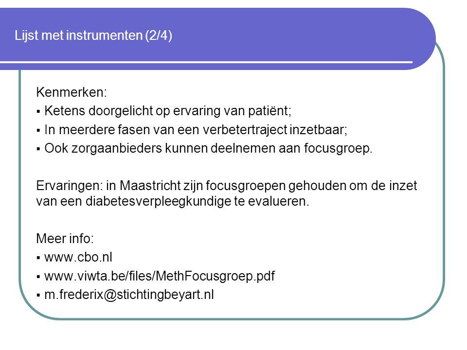 Lijst met instrumenten (2/4)