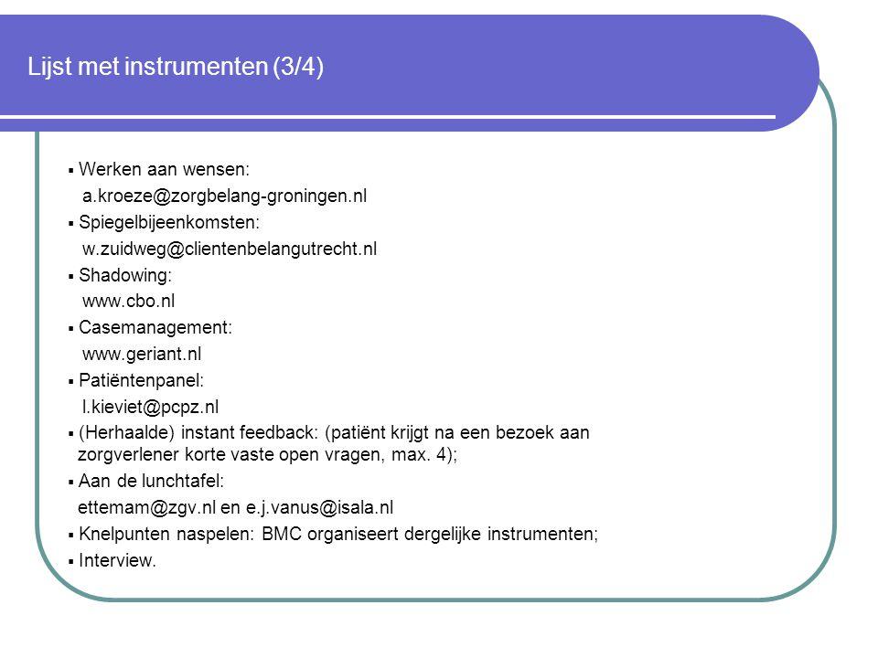 Lijst met instrumenten (3/4)