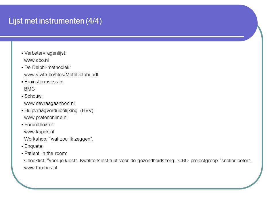 Lijst met instrumenten (4/4)