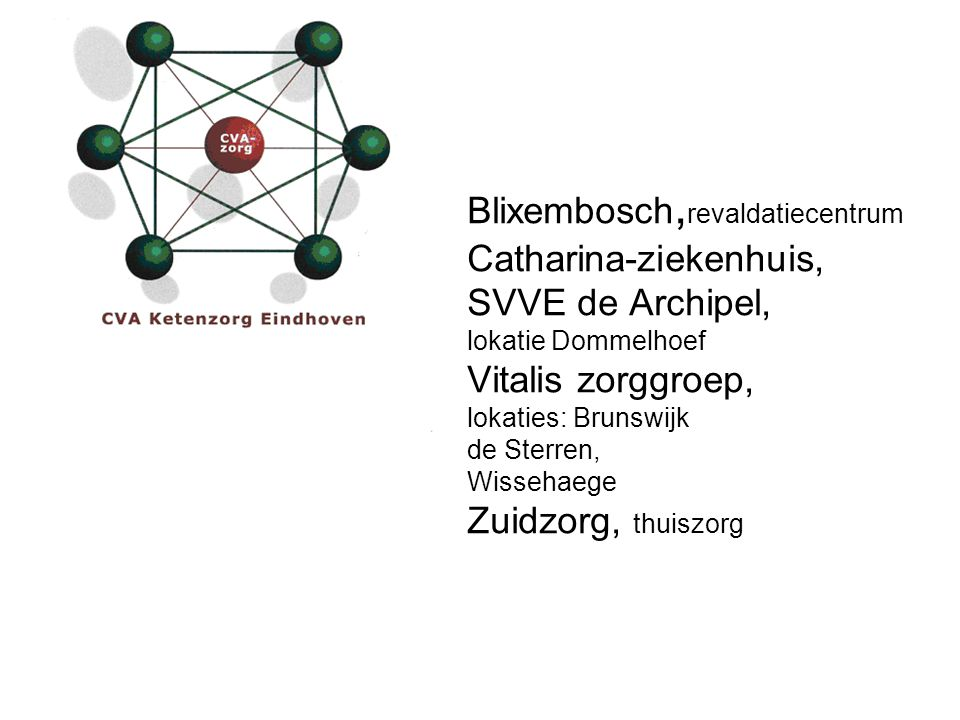 Blixembosch,revaldatiecentrum Catharina-ziekenhuis, SVVE de Archipel, lokatie Dommelhoef Vitalis zorggroep, lokaties: Brunswijk de Sterren, Wissehaege Zuidzorg, thuiszorg