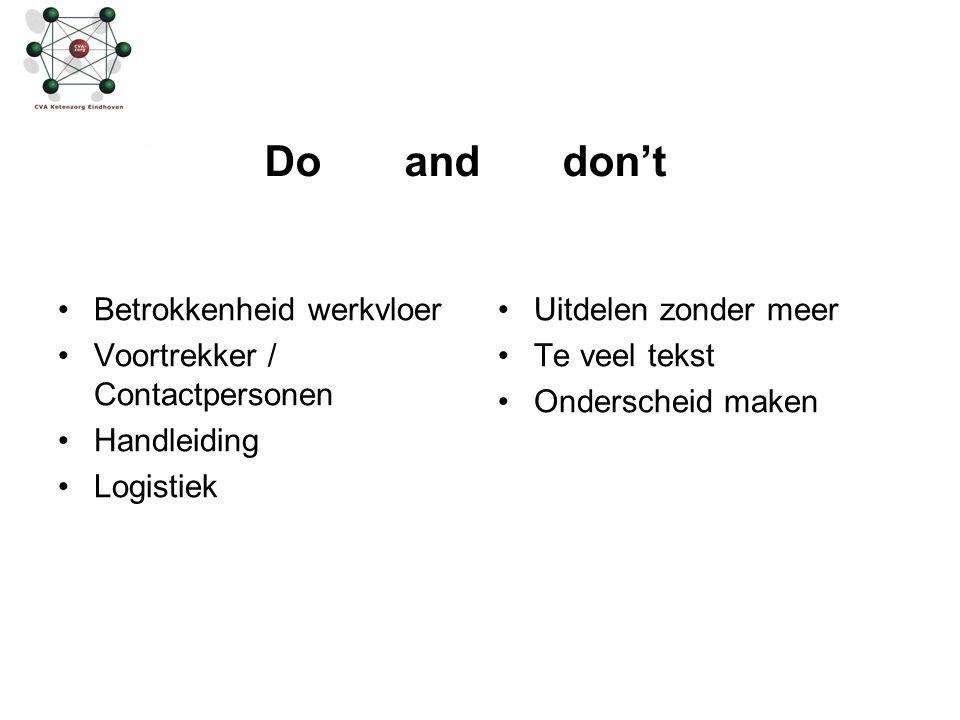 Do and don't Betrokkenheid werkvloer Voortrekker / Contactpersonen