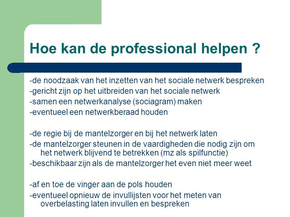Hoe kan de professional helpen