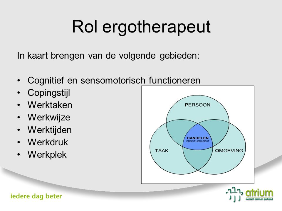 Rol ergotherapeut In kaart brengen van de volgende gebieden:
