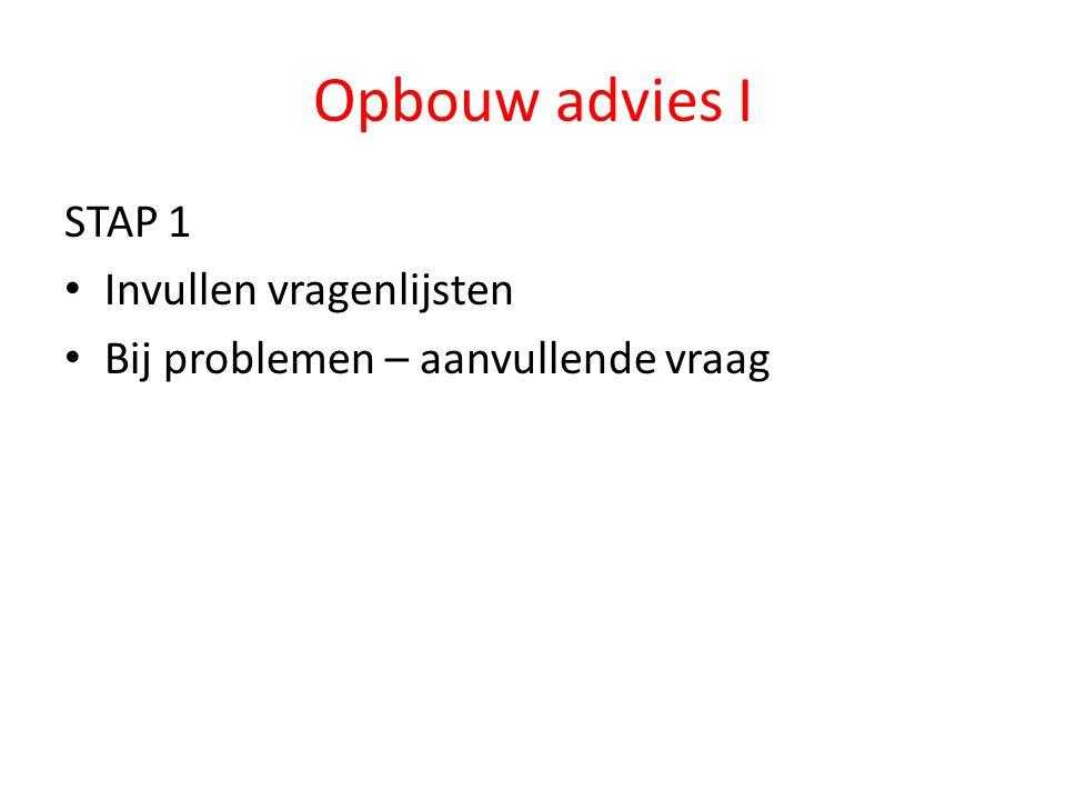 Opbouw advies I STAP 1 Invullen vragenlijsten