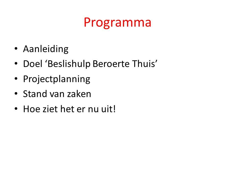 Programma Aanleiding Doel 'Beslishulp Beroerte Thuis' Projectplanning