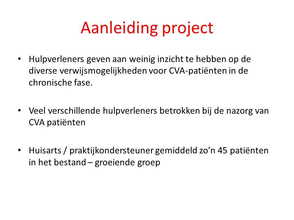 Aanleiding project Hulpverleners geven aan weinig inzicht te hebben op de diverse verwijsmogelijkheden voor CVA-patiënten in de chronische fase.