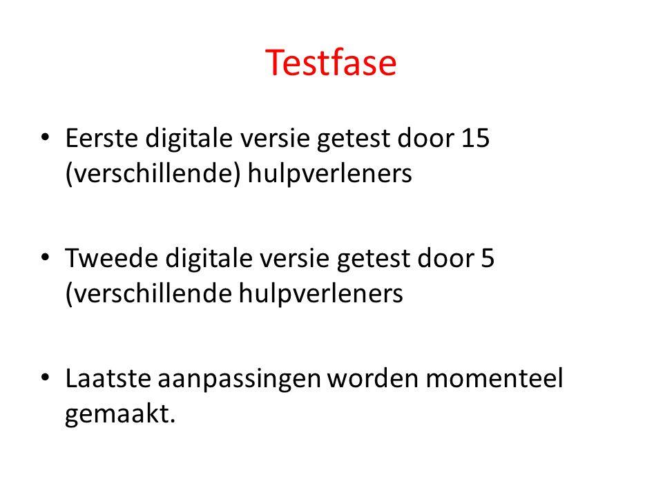 Testfase Eerste digitale versie getest door 15 (verschillende) hulpverleners. Tweede digitale versie getest door 5 (verschillende hulpverleners.