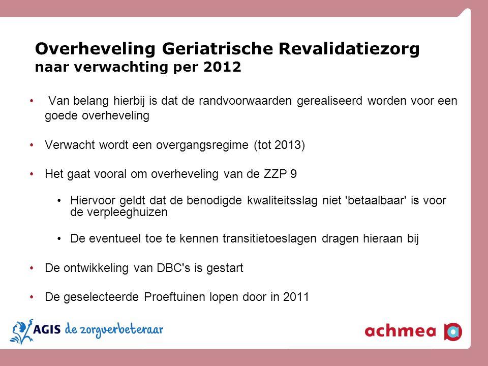 Overheveling Geriatrische Revalidatiezorg naar verwachting per 2012