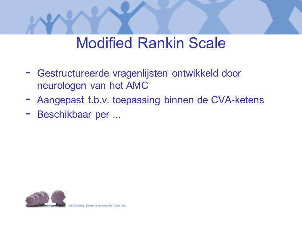 Modified Rankin Scale Gestructureerde vragenlijsten ontwikkeld door neurologen van het AMC. Aangepast t.b.v. toepassing binnen de CVA-ketens.