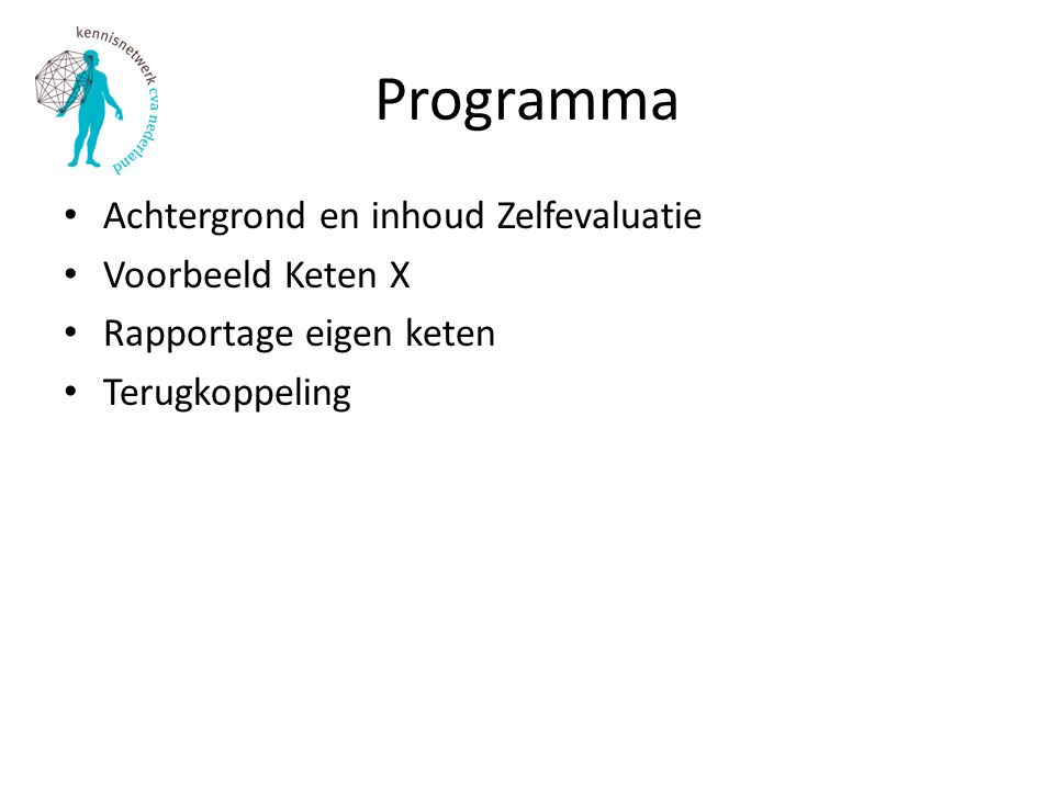 Programma Achtergrond en inhoud Zelfevaluatie Voorbeeld Keten X