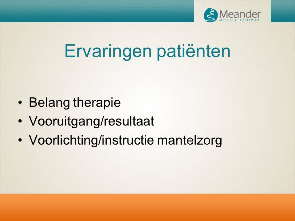 Ervaringen patiënten Belang therapie Vooruitgang/resultaat