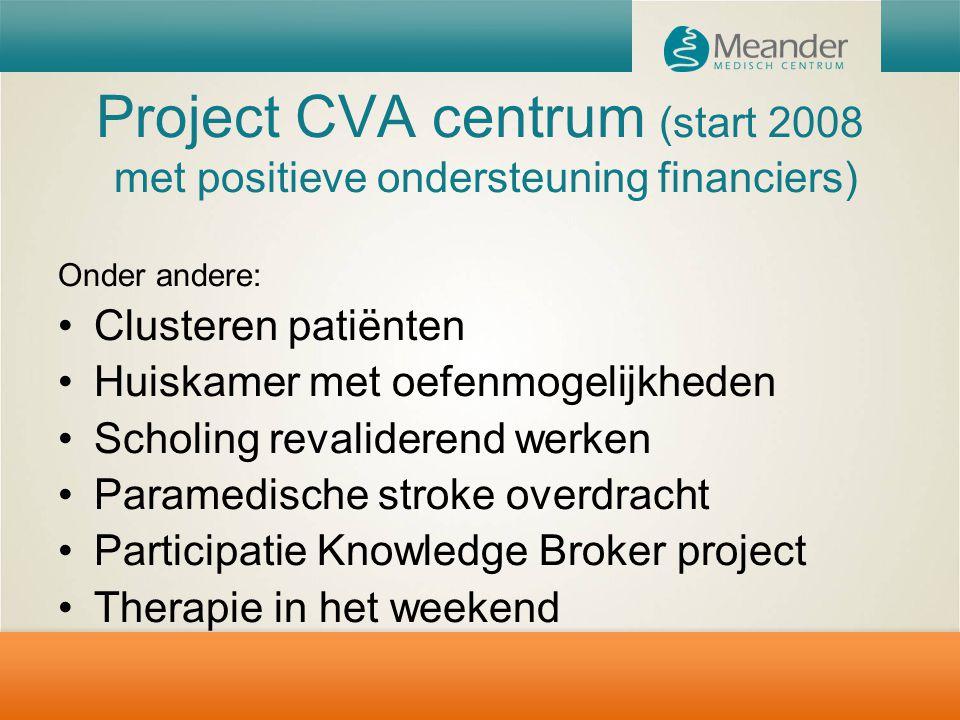 Project CVA centrum (start 2008 met positieve ondersteuning financiers)