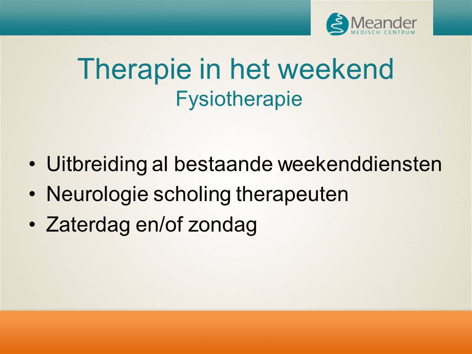 Therapie in het weekend Fysiotherapie