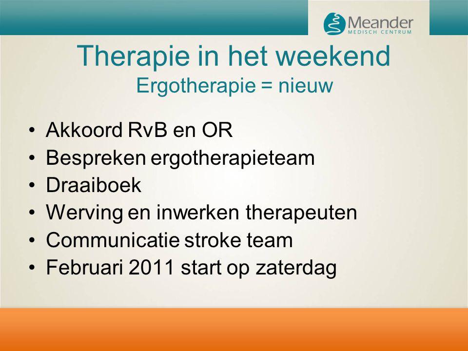 Therapie in het weekend Ergotherapie = nieuw