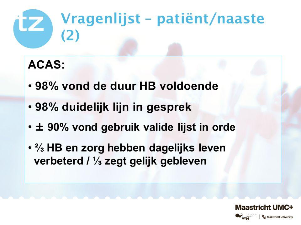 Vragenlijst – patiënt/naaste (2)