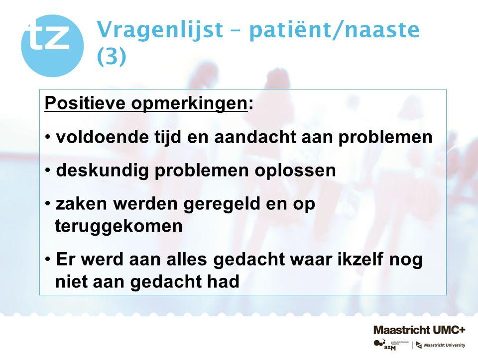 Vragenlijst – patiënt/naaste (3)