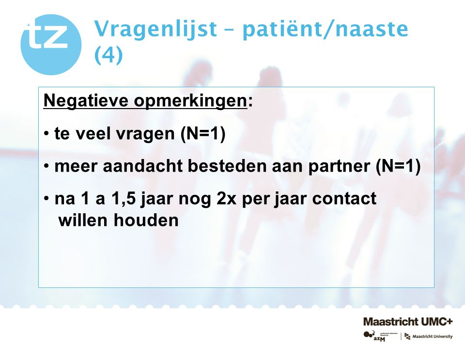 Vragenlijst – patiënt/naaste (4)