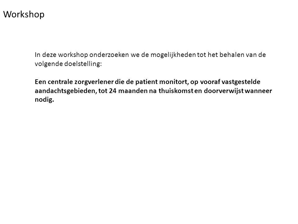 Workshop In deze workshop onderzoeken we de mogelijkheden tot het behalen van de volgende doelstelling: