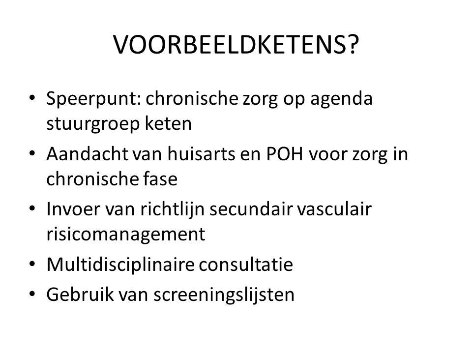 VOORBEELDKETENS Speerpunt: chronische zorg op agenda stuurgroep keten