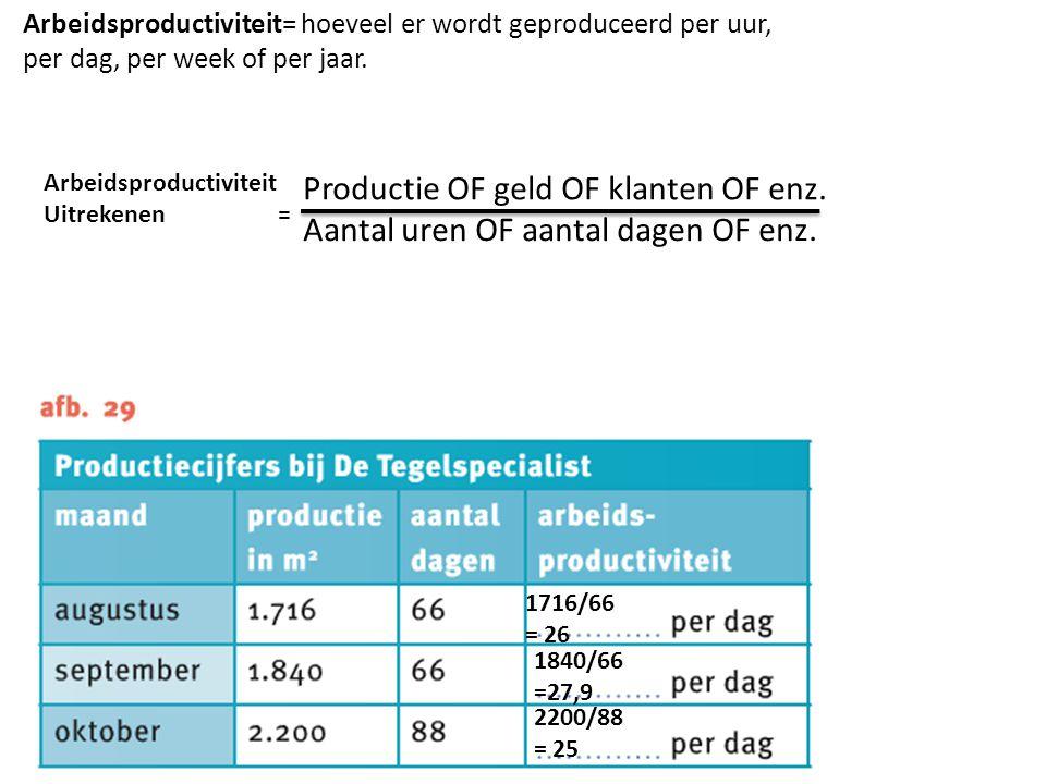 Productie OF geld OF klanten OF enz.