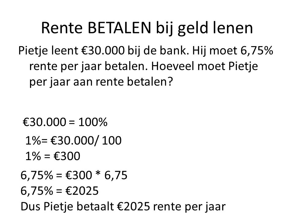 Rente BETALEN bij geld lenen