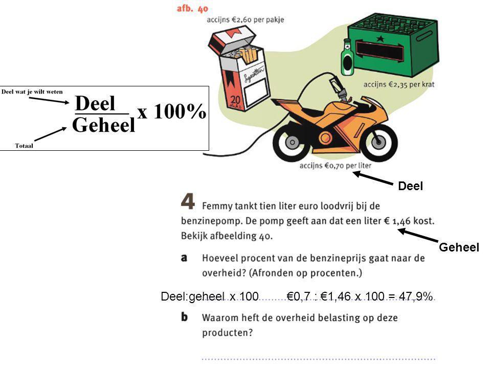 Deel Geheel Deel:geheel x 100 €0,7 : €1,46 x 100 = 47,9%