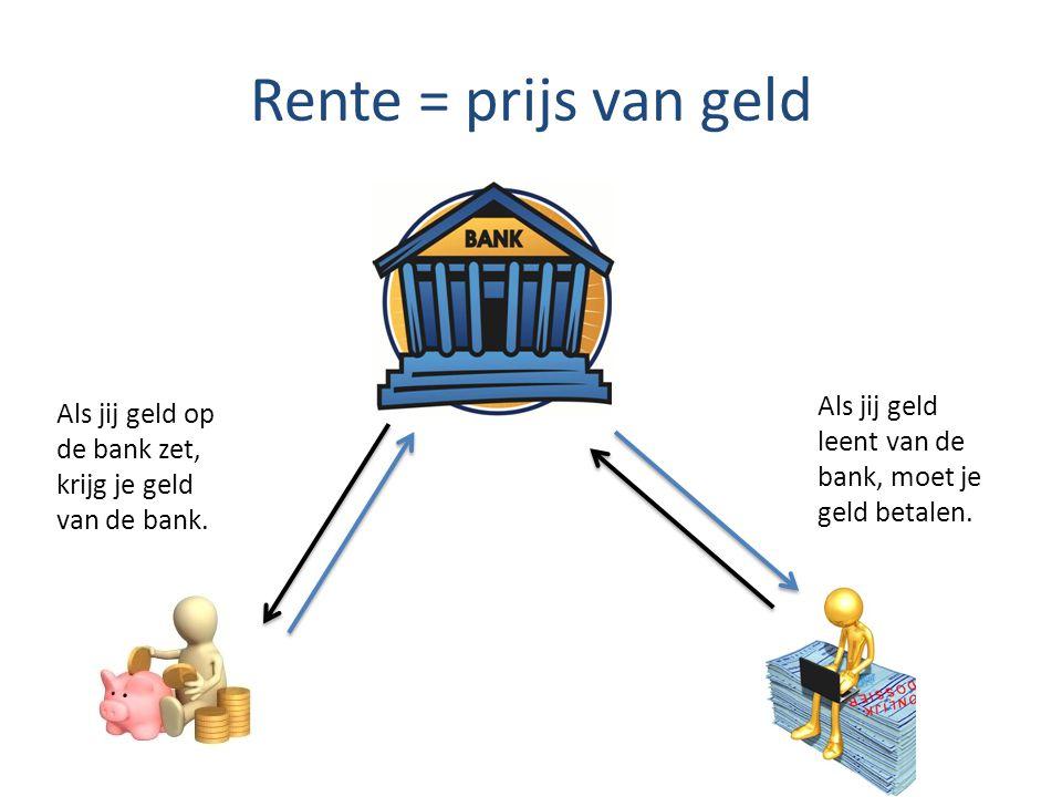 Rente = prijs van geld Als jij geld leent van de bank, moet je geld betalen.