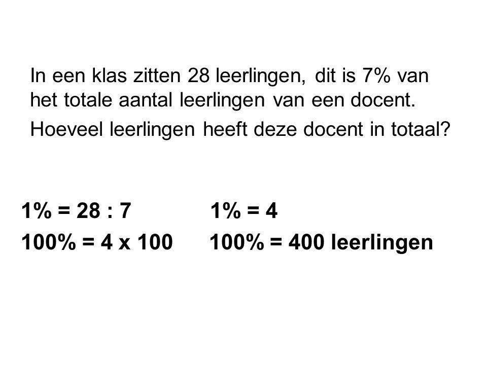 1% = 28 : 7 1% = 4 100% = 4 x 100 100% = 400 leerlingen