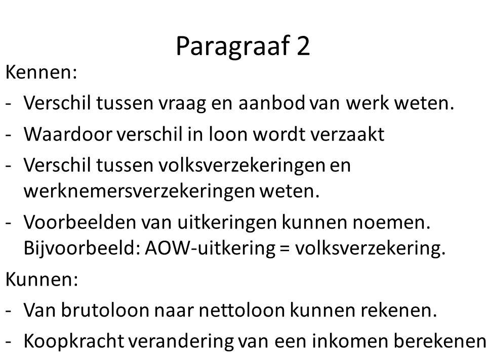 Paragraaf 2 Kennen: Verschil tussen vraag en aanbod van werk weten.
