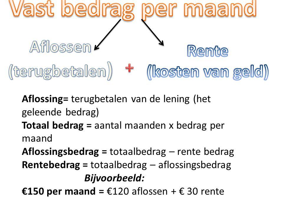 Vast bedrag per maand Aflossen Rente (terugbetalen) (kosten van geld)
