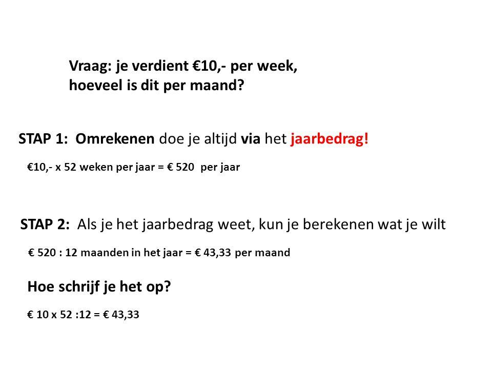 Vraag: je verdient €10,- per week, hoeveel is dit per maand