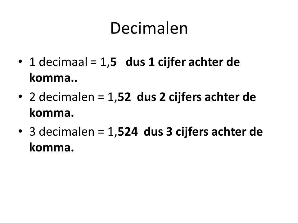 Decimalen 1 decimaal = 1,5 dus 1 cijfer achter de komma..