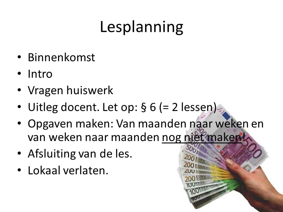 Lesplanning Binnenkomst Intro Vragen huiswerk