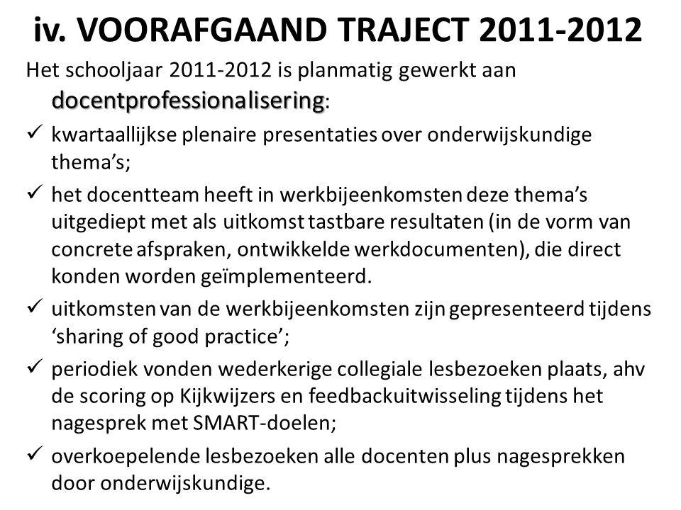 iv. VOORAFGAAND TRAJECT 2011-2012