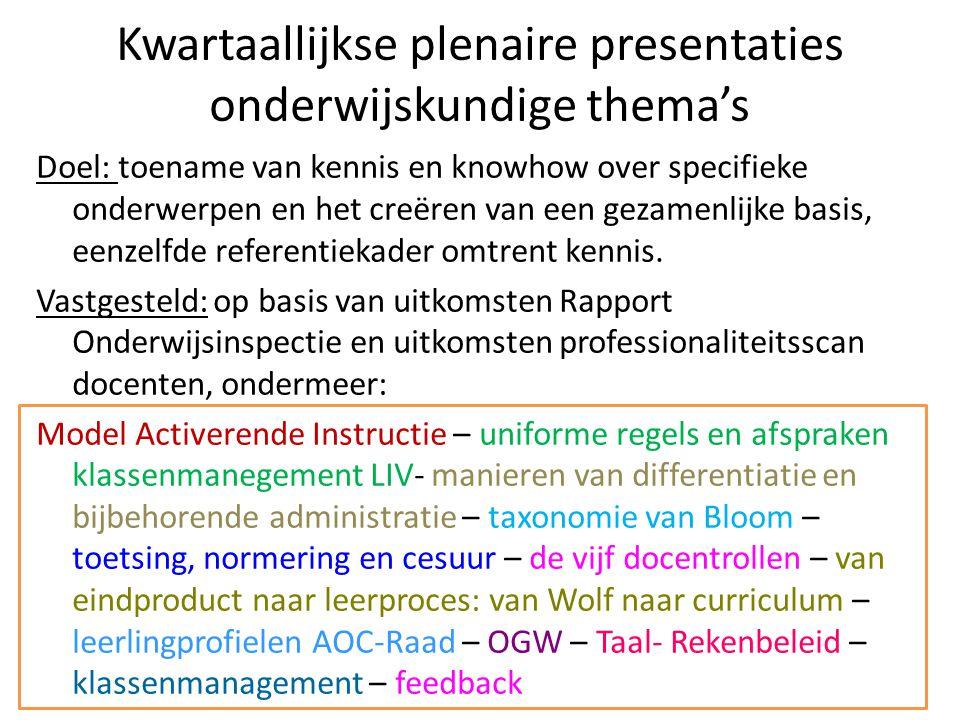 Kwartaallijkse plenaire presentaties onderwijskundige thema's