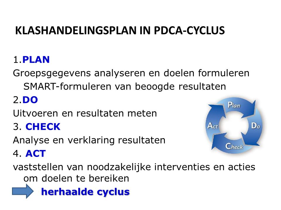 KLASHANDELINGSPLAN IN PDCA-CYCLUS