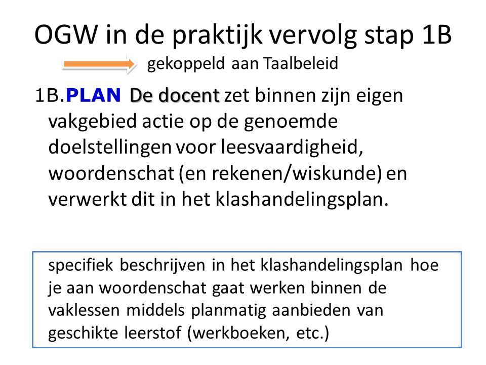 OGW in de praktijk vervolg stap 1B gekoppeld aan Taalbeleid