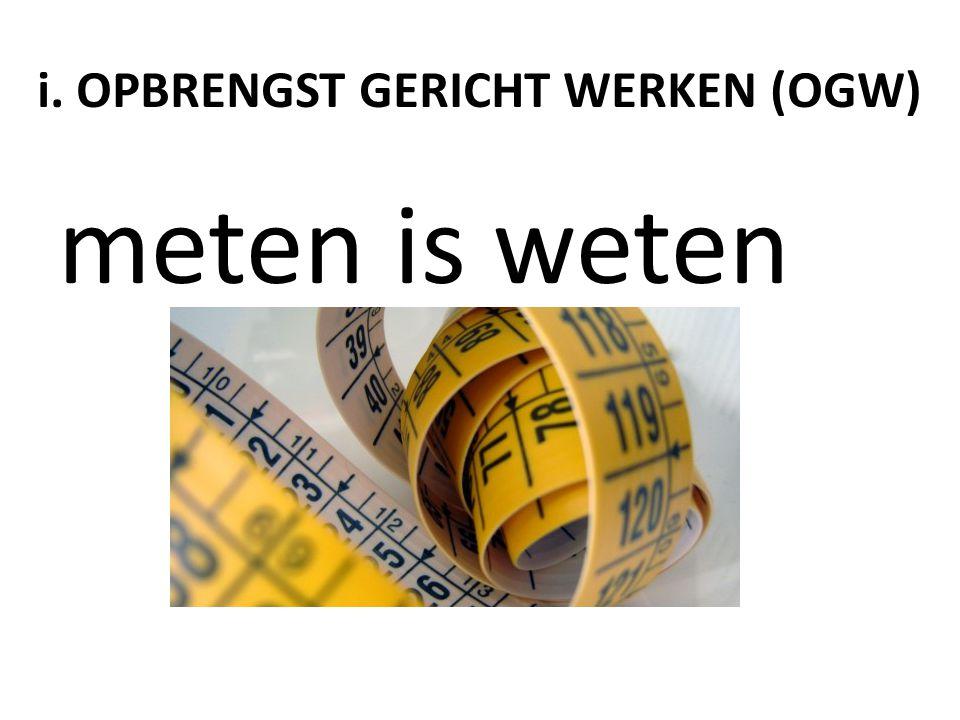 i. OPBRENGST GERICHT WERKEN (OGW)