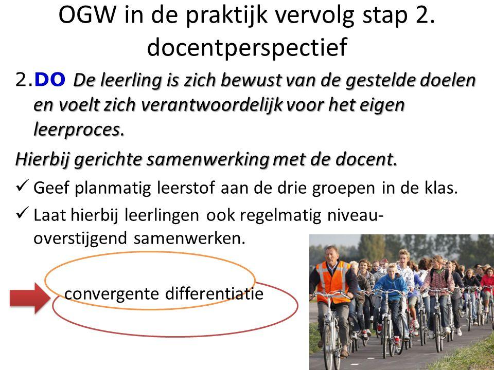 OGW in de praktijk vervolg stap 2. docentperspectief