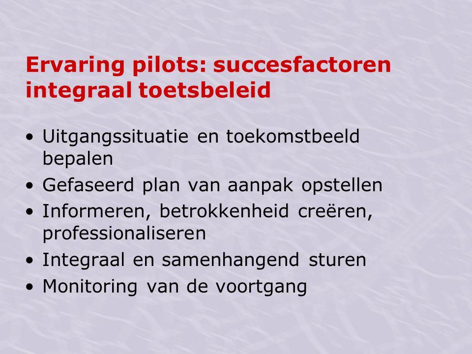 Ervaring pilots: succesfactoren integraal toetsbeleid