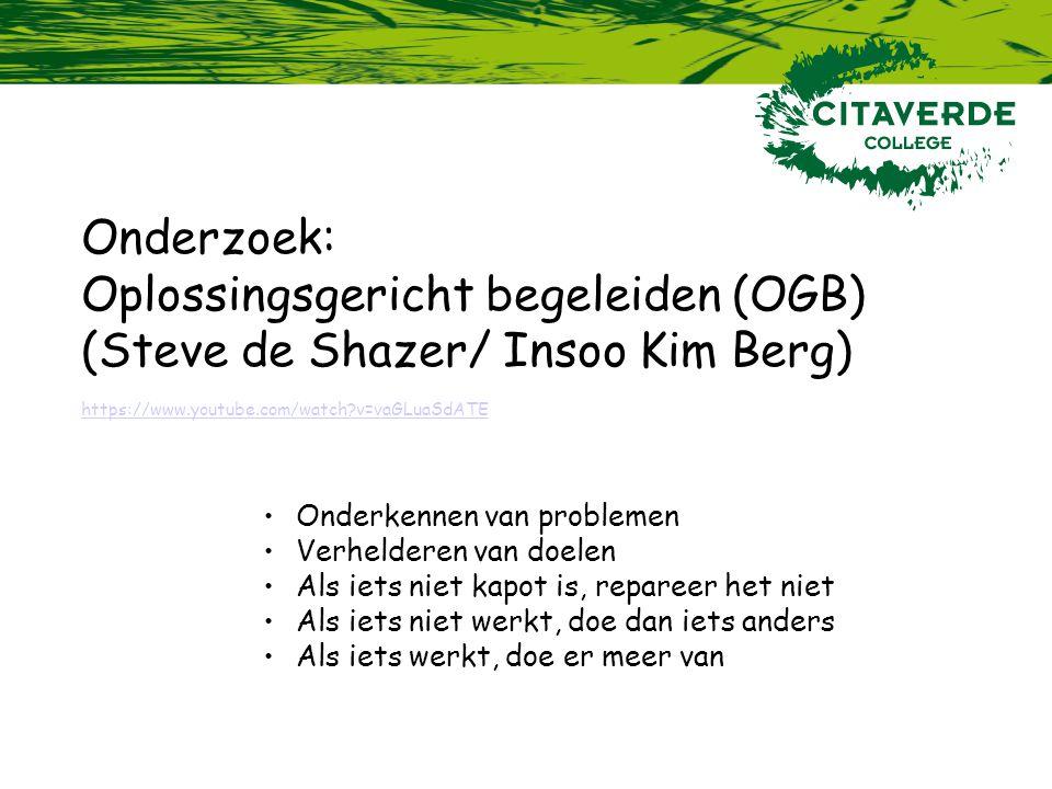 Oplossingsgericht begeleiden (OGB) (Steve de Shazer/ Insoo Kim Berg)
