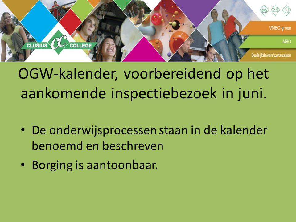 OGW-kalender, voorbereidend op het aankomende inspectiebezoek in juni.