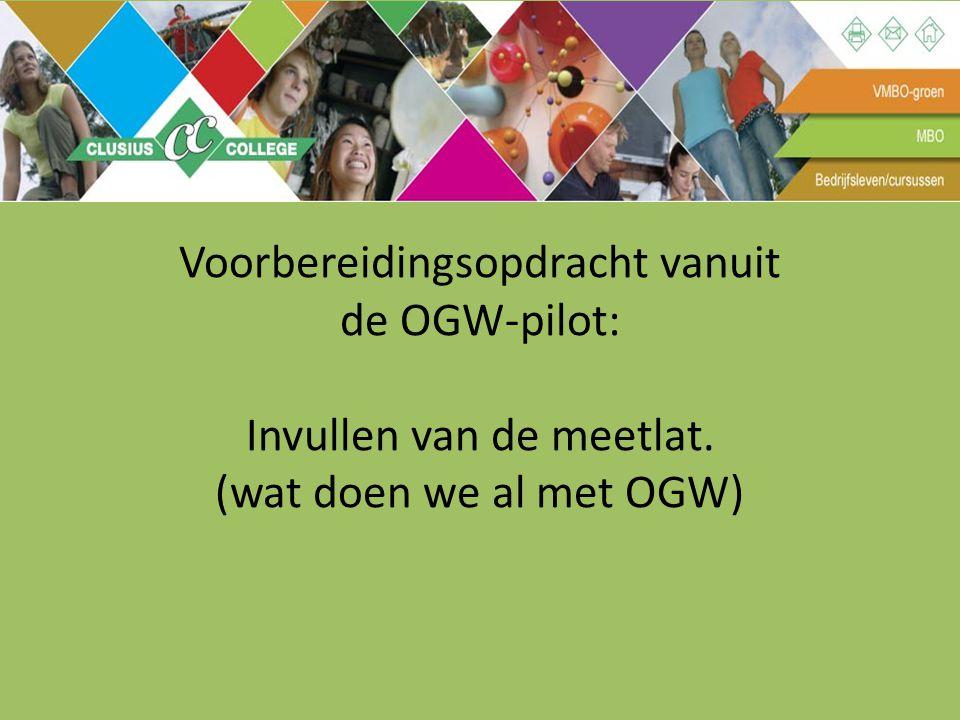 Voorbereidingsopdracht vanuit de OGW-pilot: Invullen van de meetlat