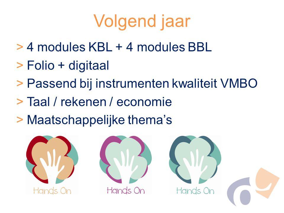 Volgend jaar 4 modules KBL + 4 modules BBL Folio + digitaal